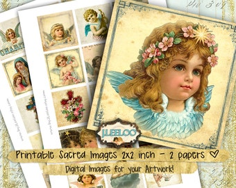 RELIGIOUS 2x2 inch square Digital Sheets angel merry christmas holidays jewellery pendant clipart magnet instant download printable - qu486