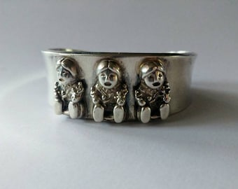 Vintage silver Carol Felley story teller cuff bracelet 1989 storyteller