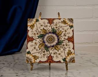 Antique Tile- Arts and Crafts Movement – Minton - Trivet – Floral - Transfer-ware