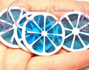 35mm Blue Sparkly Fruit Slice Citrus Pendants Qty 4, Chunky Pendant, Purse Charm, Zipper Pull, Keychain, Chunky Jewelry, Food Kawaii Charm