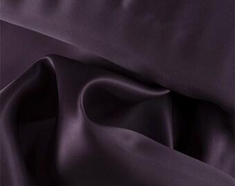 Aubergine Silk Satin Organza, Fabric By The Yard