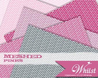 Texture digital paper fabric scrapbook photo album background mesh in pink fuschia gray : b0173c v301 pinks