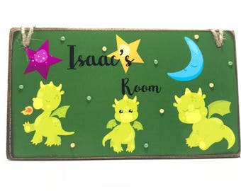 Personalised Dragon Room Sign, Children's Name Plaque, Boys Door Sign, Green Dragon Door Plaque, Cute Dragon Name Sign, Girls Door Sign