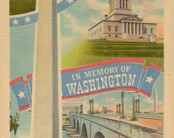 Linen Postcard, Washington, DC, Capitol, In Memory of George Washington, Large Letter