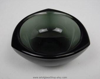 Nuutajarvi Notsjo smoky grey coloured Haransilma/Bullseye bowl/pin dish by Kaj Franck
