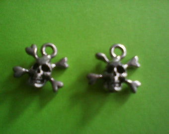 Two sided skull & crossbones pendants/charms/earings--Goth/Fetish/Halloween--Get Free merchandise with purchase!