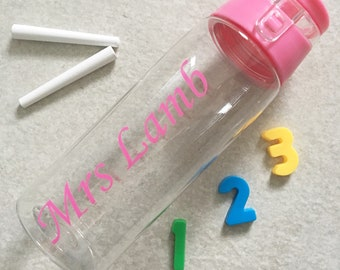 Personalised teacher gift water bottle removable fruit infuser