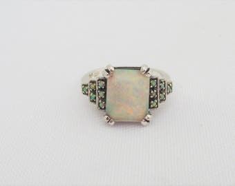 Vintage Sterling Silver White Opal Engagement Ring Size 9