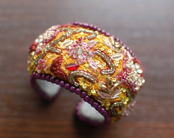 Recycled embroidery bohemian maroon and yellow cuff