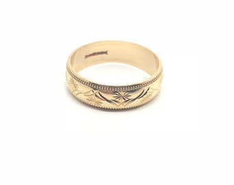 Vintage 9ct Wedding Ring | 9ct Gold Band | Ring Size S | USA Ring Size 9 1/4| Circa.1970 Ring | 9ct Gold | Yellow Gold | Wedding Ring | 6mm