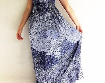 Women Maxi Dress Gypsy Dress Boho Dress Hippie Dress Summer Beach Dress Long Dress Party Dress Clothing Printed Black (DL22)