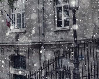 Paris Winter Photo, Fine Art Photography, Paris Print, Magical, Winter Decor, Snow, Urban, Lantern, Holiday, Lamppost, Black and White