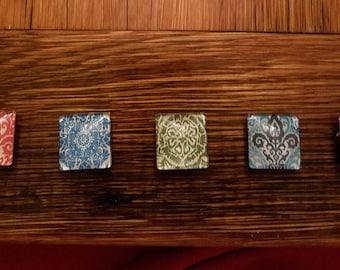 Square Domed Glass Magnet Set of 5