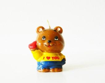 Vintage Bear Candle / Cute I Love You Bear / Retro Novelty Candle / Unused Kitschy Bear Candle