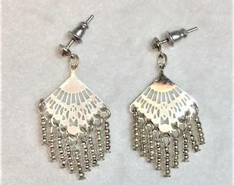 Earrings - Silver-tone Fan with Dangling beads