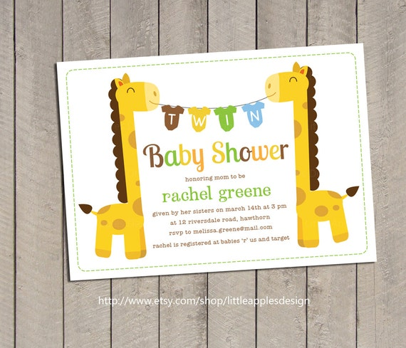 Twin baby shower invitation twin giraffe baby shower filmwisefo