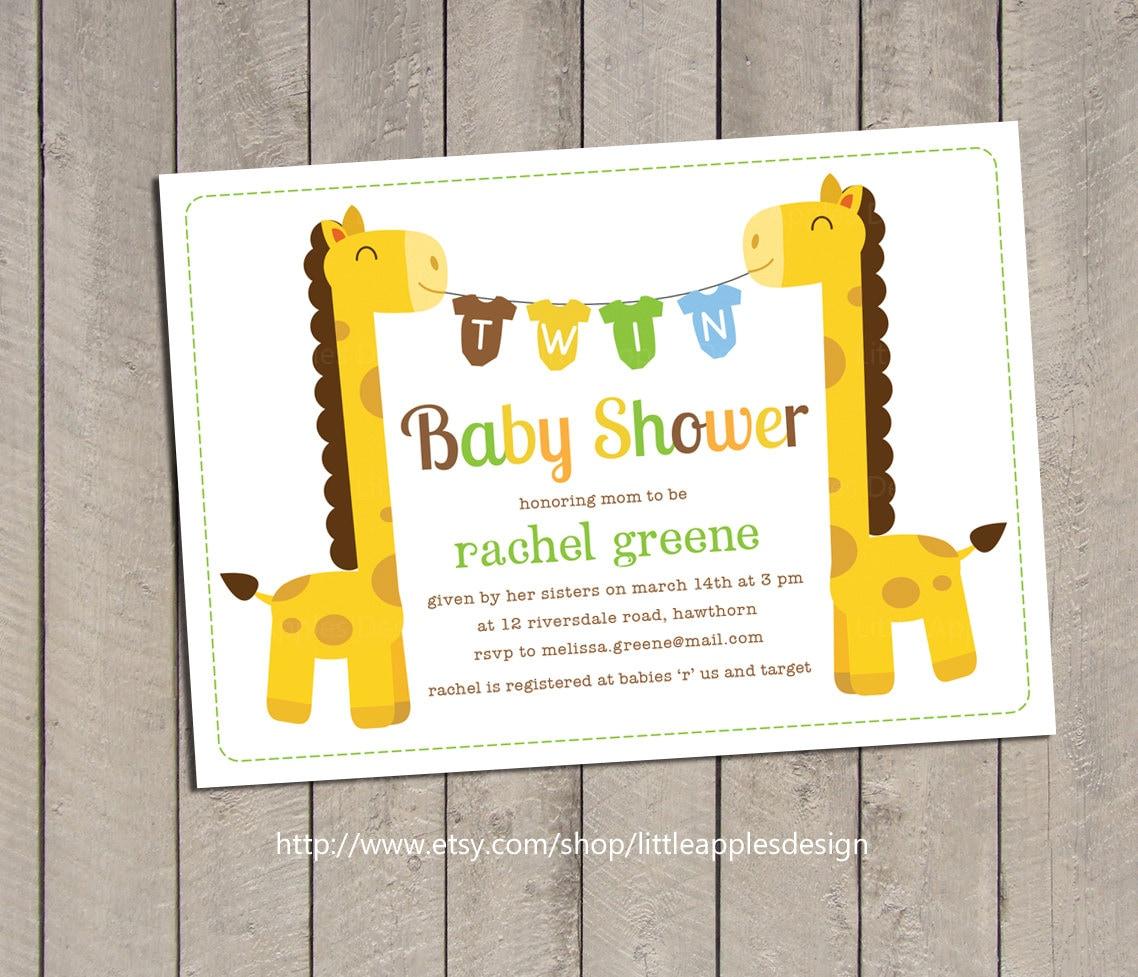 Twin baby shower invitation twin giraffe baby shower zoom filmwisefo