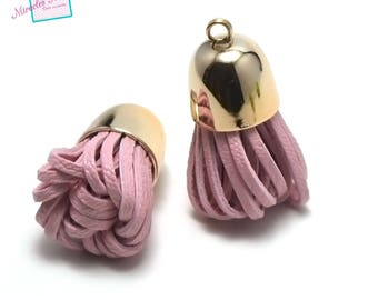 """2 PomPoms 40 x 20 mm pink faux leather """"Bell"""""""