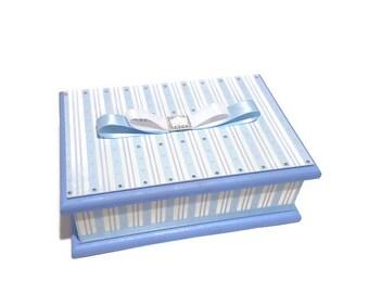 Elegant Blue & White Striped Keepsake Box, Trinket Box, Treasure Box, Memory Box, Jewellery Box, Wooden Box,  Personalised Box, Wedding Box