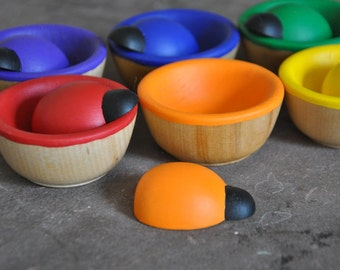 Bugs & Bowls Rainbow Sorting Toy - A Waldorf and Montessori Inspired Wooden Toddler Toy (K)