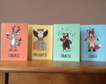 Set of 4 Assorted Greetings Cards - PARTY ANIMALS
