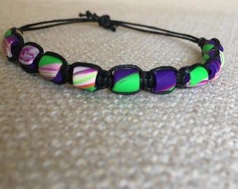 yarn bracelet with polymer clay beads
