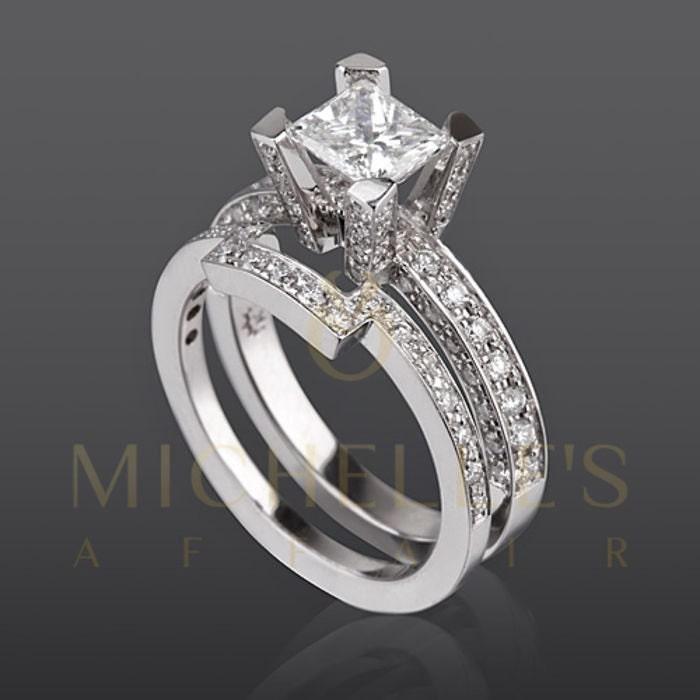 Women Diamond Rings Set 14K White Gold 22 Carat D VS2