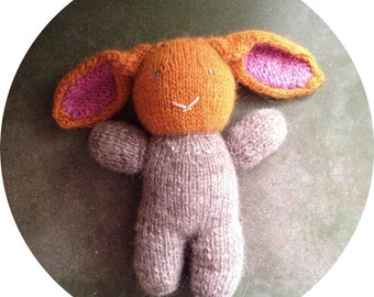 Hand Knit Bunny Rabbit - Stuffed Animal - Orange and Brown - Icelandic Lopi Wool