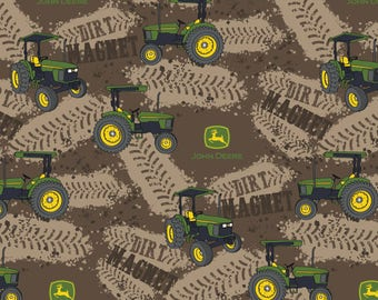 John Deere Fabric Dirt Magnet Tractors Fabric From Springs Creative 100% Cotton