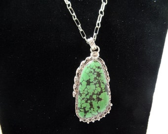 Green Turquoise Pendant. Sterling Turquoise. Chinese Turquoise.  Webbed Turquoise. Genuine Turquoise. Genuine Turquoise. 1026