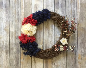 4th of July Wreath- Independence Day Wreath - Patriotic Wreath - Memorial Day Decor - Summer Wreath  - Red White Blue Wreath - Military Gift