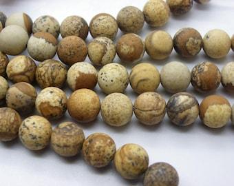38 Jasper, frosted 10 mm a beautiful beige caramel camel jaspe round