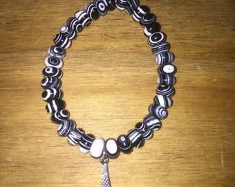Black and white beaded paris bracelet