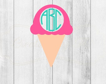Monogrammed Ice Cream Cone Decal