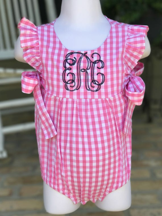 Monogrammed Pink Gingham Side Tie Bubble