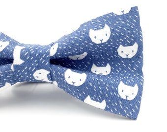 Bow Tie With Cats in Adult and Children's Sizes, Cat Bow Tie in Blue, Novelty Bow Tie, Mens Bowties By AmandaJoHandmade on Etsy