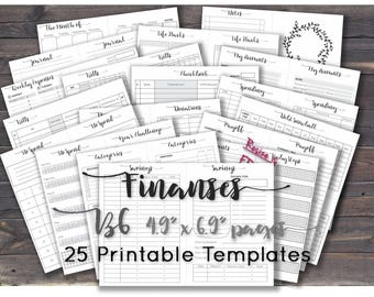 B6 travelers notebook inserts printable budget planner finance. B6 size. Any Re-size is FREE!