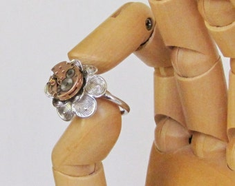 Steampunk Omega Flower Power Ring, Rose Gold Watch Movement, Spring Bloomer, Vtg NOS MINTY Silver-Tone Two-Tier Flower Ring, Steampunkology