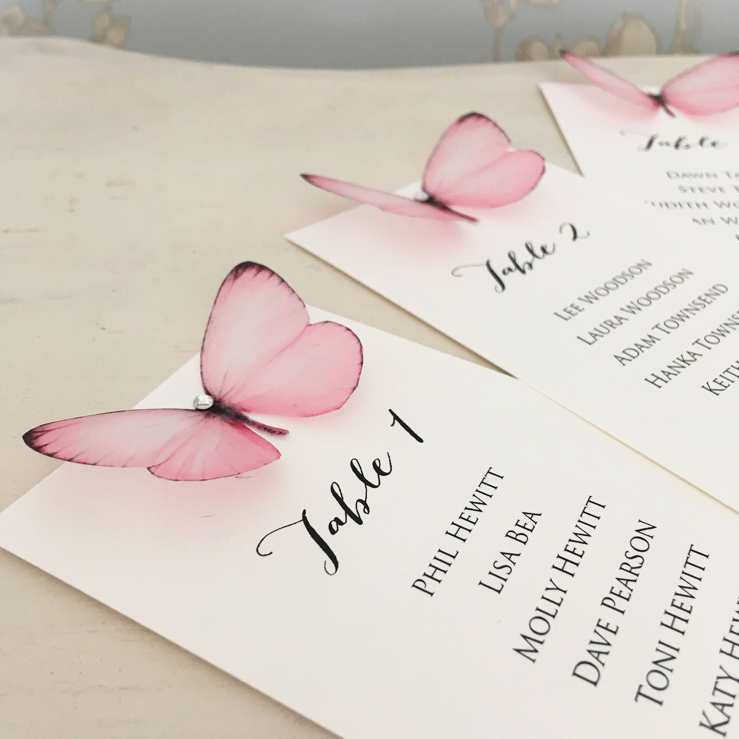 Pink Butterfly Seating Plan Butterfly Table Plan Wedding