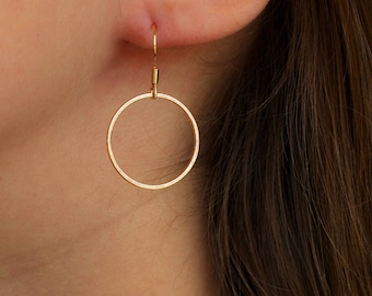 Open Circle Drop Earrings | Gold Circle Earrings | Everyday Earrings | Gold Loop Earrings | Gold Earrings | Dangle Earring | simple earrings