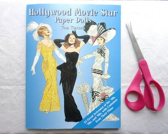 Hollywood Movie Star Paper Dolls By Tom Tierney / Unused / Vintage Collectibles / Old Movie Stars / 24 Actresses With Costumes From Films
