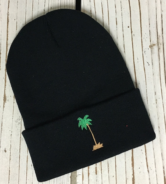 PALM TREE Embroidered Beanie Cuffed Cap - Multiple Colors