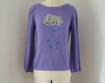 Purple cashmere rain cloud jumper, UK 10, US 8, rain cloud jumper, cashmere jumper, spring fashion, sequin jumper, sweater, raindrop, blue