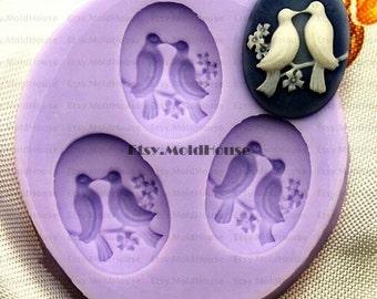 Birds Flexible Silicone Mold Silicone Mould Candy Mold Chocolate Mold Soap Mold Polymer Clay Mold Resin Mold F0183