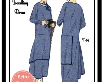 1920s Travelling Dress Sewing Pattern - Paper Sewing Pattern - Downton - Flapper