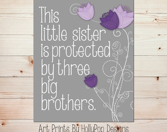 This little sister print Purple nursery art Sibling wall art Tulip floral wall decor Baby girl nursery Baby decor Girl nursery decor #1482