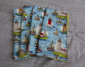 Sailboat and Lighthouse Luncheon Napkins