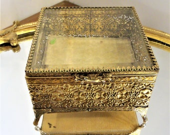 Gold Plated Ormolu Filigree Jewelry Casket w/ Beveled Glass Lid Ornate Openwork SQUARE Jewel Trinket Box Vintage Vanity Dish Dressing Table