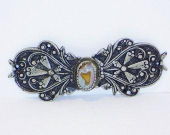 SALE Vintage Moss Agate Belt Buckle, Accessories, Women