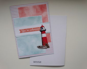 You're Awesome, Lighthouse, Motivational, Encouragement, Stormy Sea, A5 Card